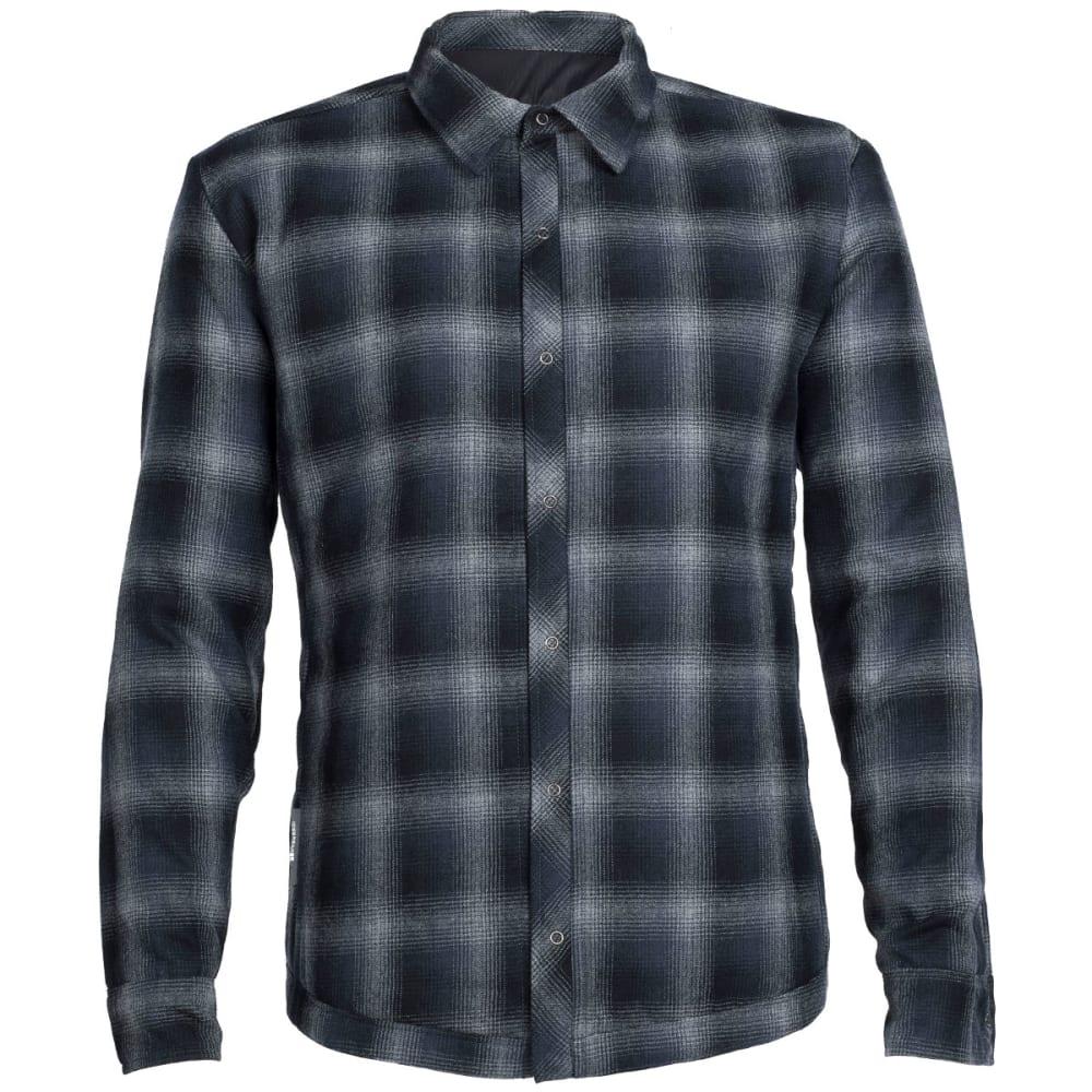 ICEBREAKER Men's Helix Long Sleeve Reversible Shirt - BLACK/METRO HTHR/ST