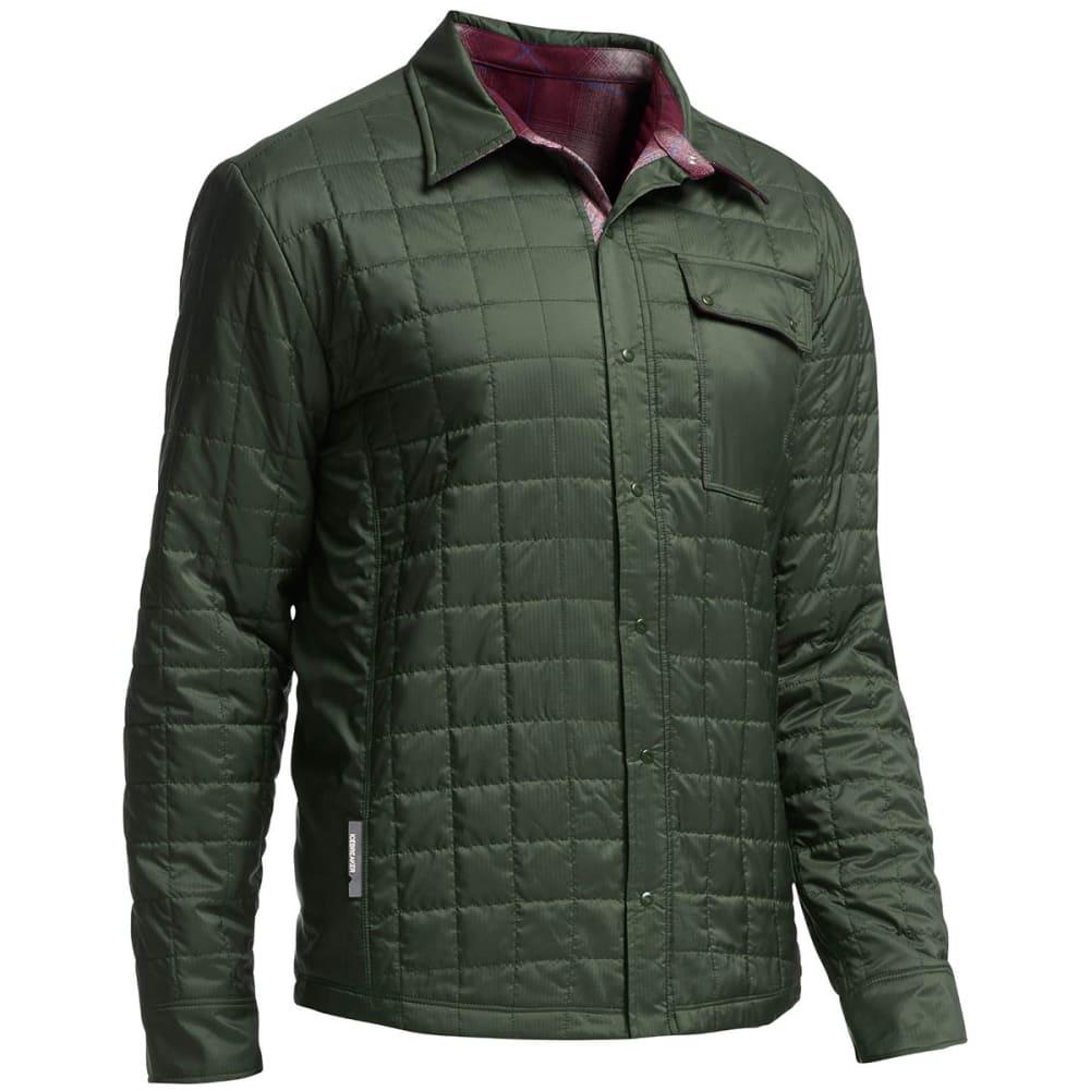 ICEBREAKER Men's Helix Long-Sleeve Reversible Shirt - CONIFER/ REDWOOD/ AW