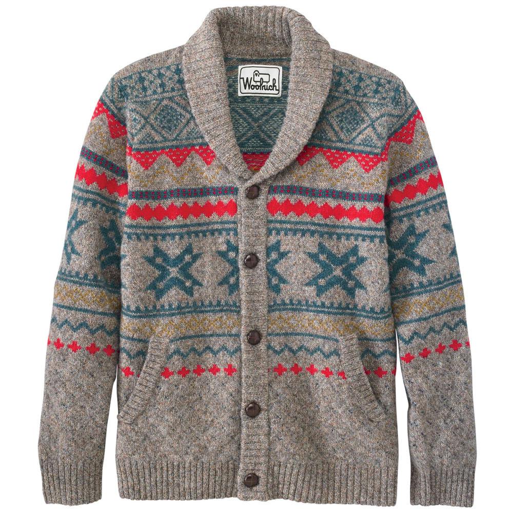 WOOLRICH Men's Penna Fairisle Cardigan Sweater, Fatigue Heather