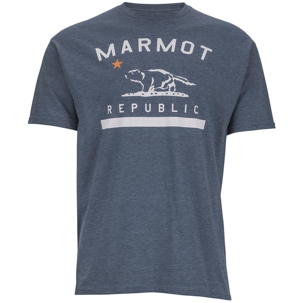 MARMOT Men's Marmot Republic Short Sleeve Tee - NAVY HEATHER