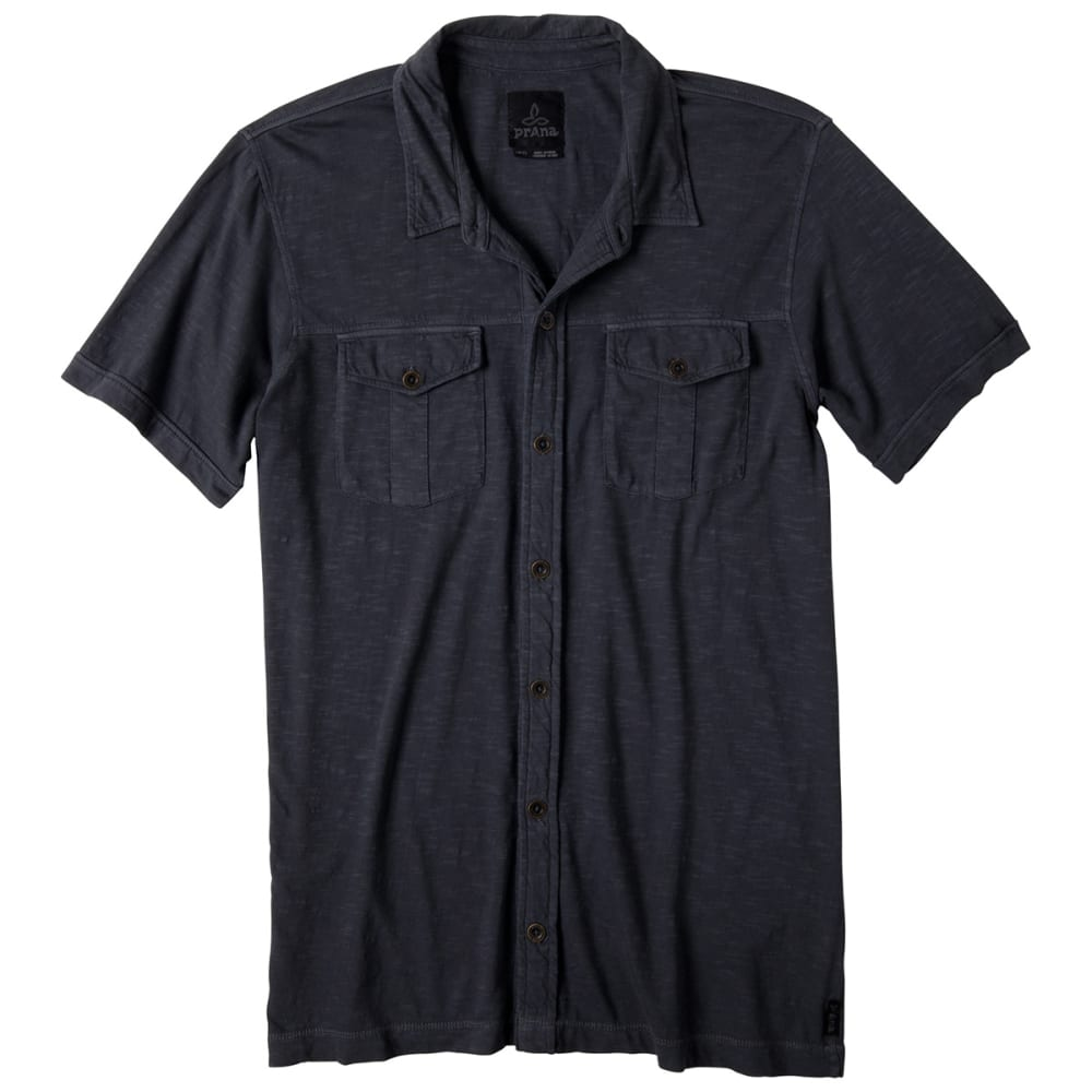 PRANA Men's Hayes Button-Down Polo Shirt - COAL