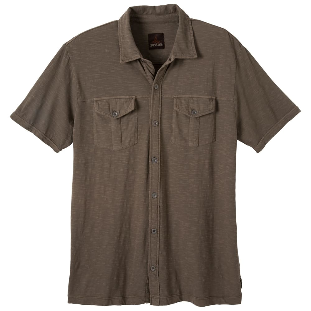 PRANA Men's Hayes Button-Down Polo Shirt - MUD