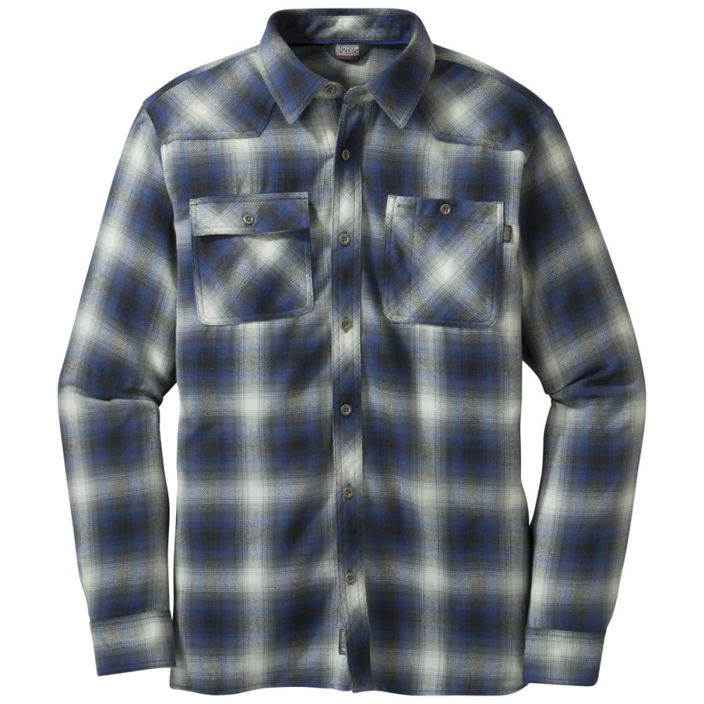 OUTDOOR RESEARCH Men's Feedback Flannel Shirt - BLACK/BALTIC