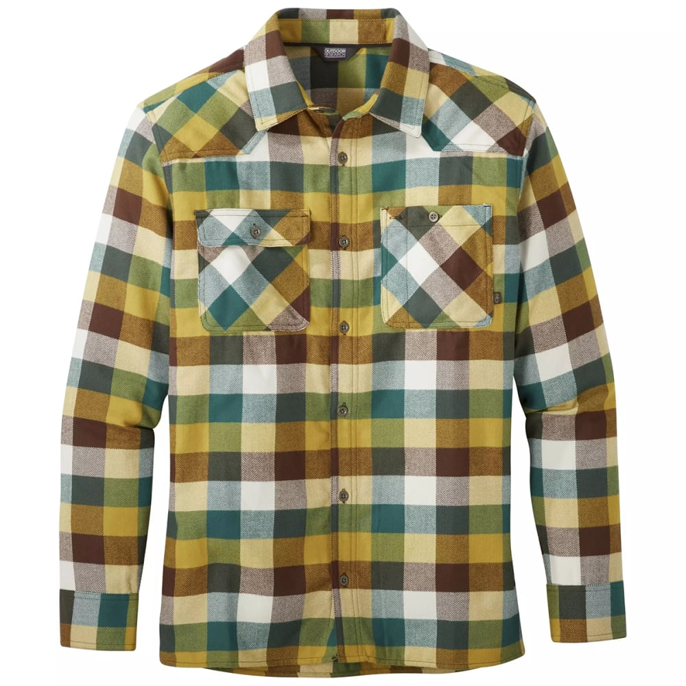 OUTDOOR RESEARCH Men's Feedback Flannel Shirt - BARK PLAID - 1629