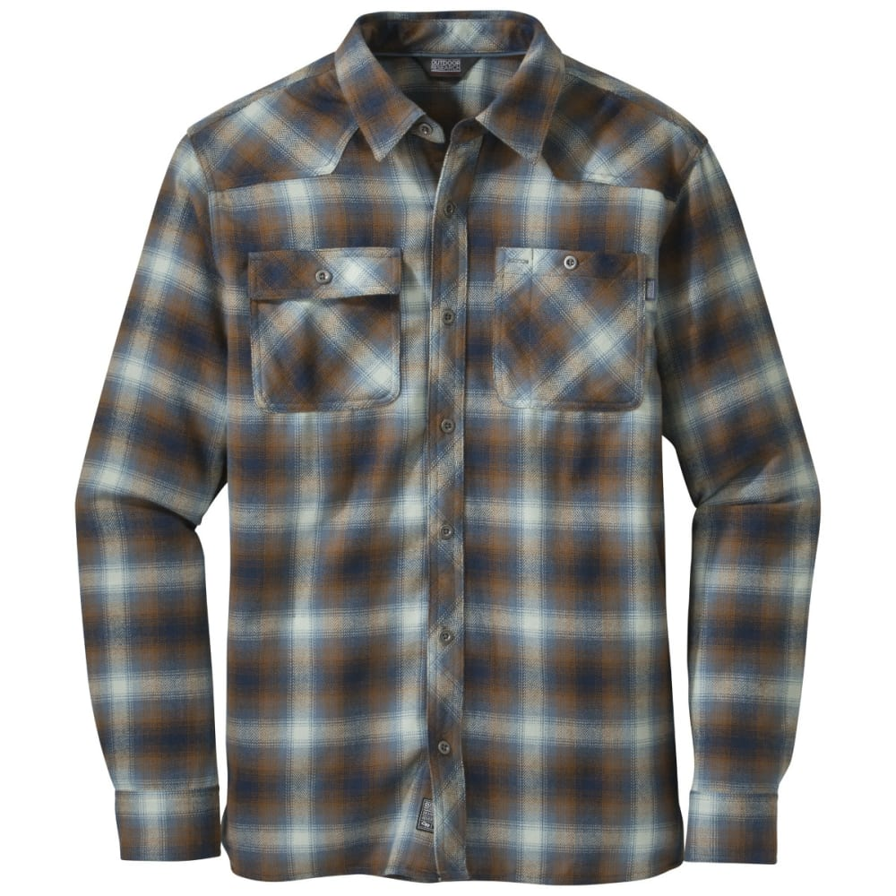 OUTDOOR RESEARCH Men's Feedback Flannel Shirt - NIGHT/SADDLE