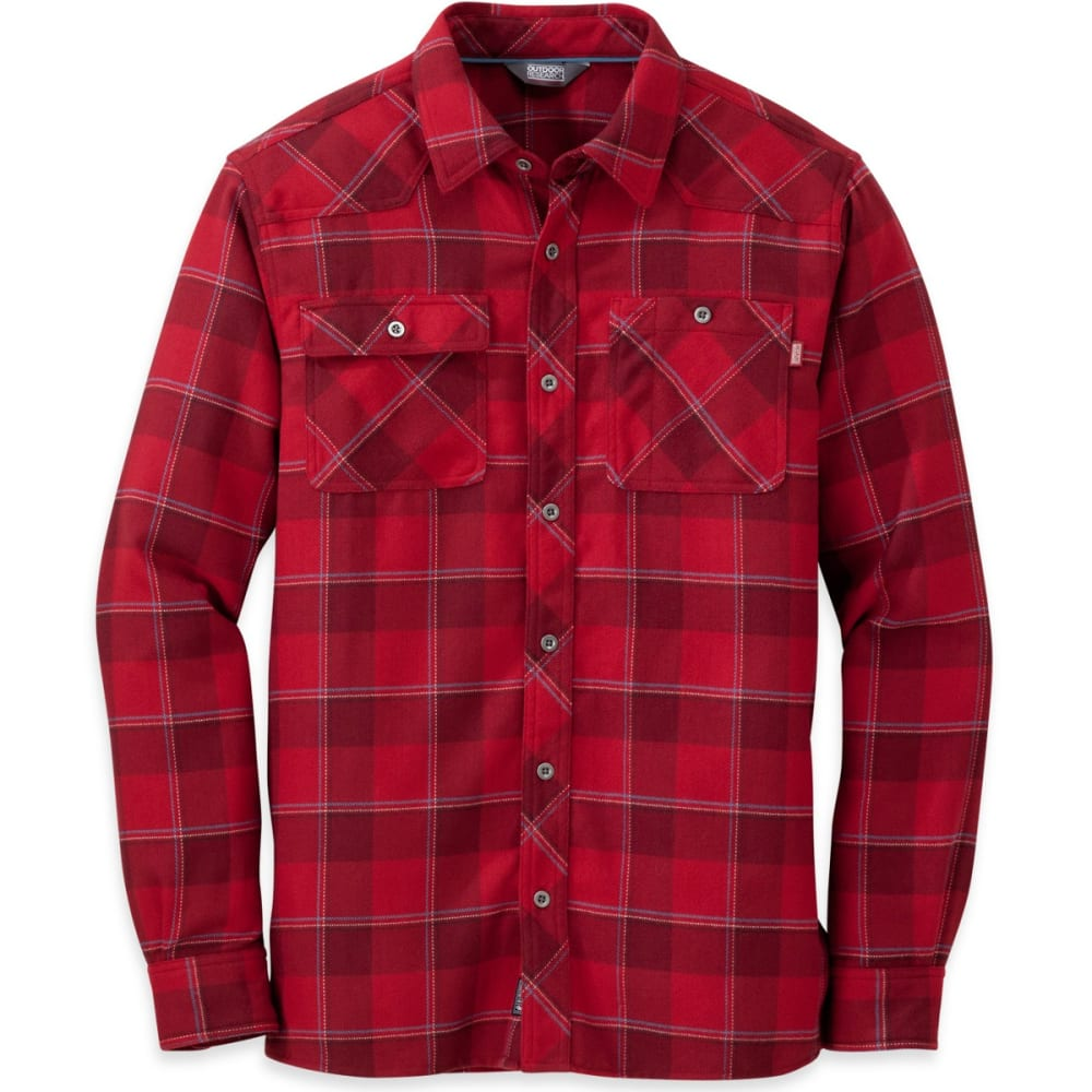 OUTDOOR RESEARCH Men's Feedback Flannel Shirt - RAISIN PLAID - 1676