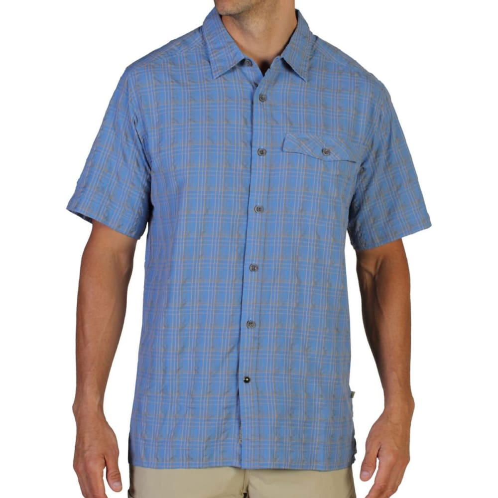EXOFFICIO Men's Quadrant Plaid Shirt, S/S   - CAYMAN BLUE