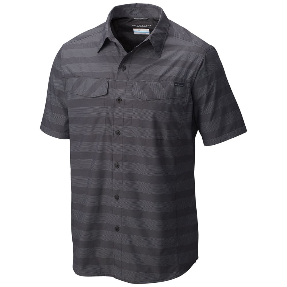 COLUMBIA Men's Silver Ridge   Multi Plaid Short-Sleeve Shirt - 012-SHARK STRIPE
