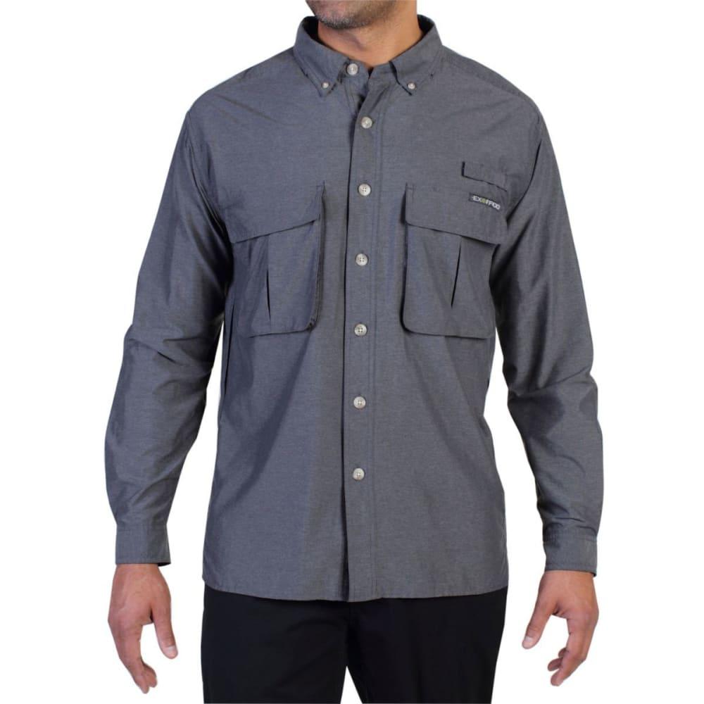 EXOFFICIO Men's Air Strip Shirt, L/S  - 9420-DK PEBBLE