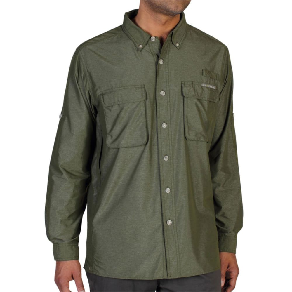EXOFFICIO Men's Air Strip Shirt, L/S  - ALGAE