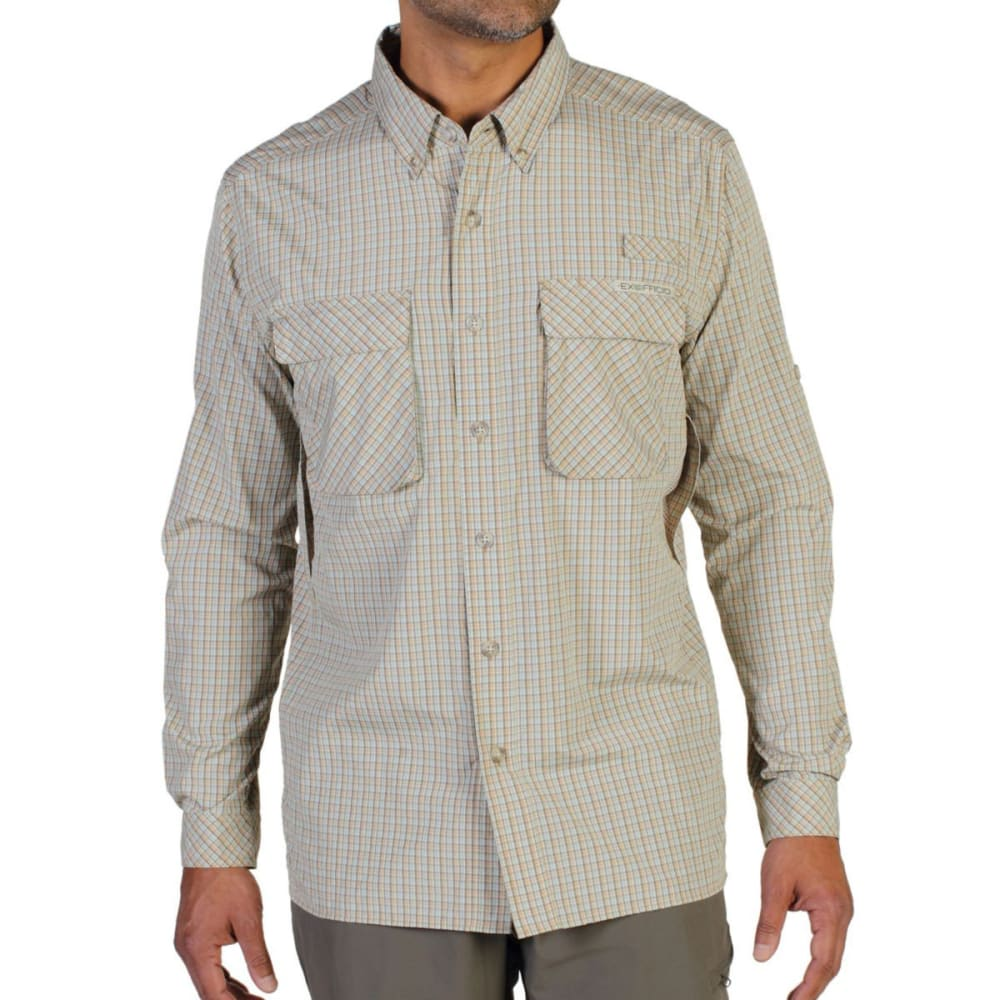 EXOFFICIO Men's Air Strip Micro Plaid Shirt, L/S   - WALNUT