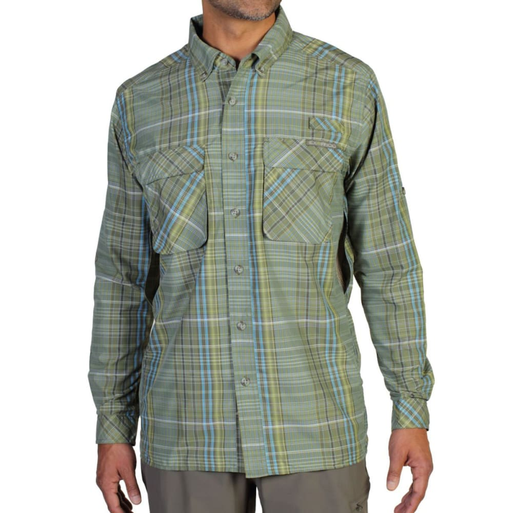 EXOFFICIO Men's Air Strip Macro Plaid Shirt, L/S  - OLIVE