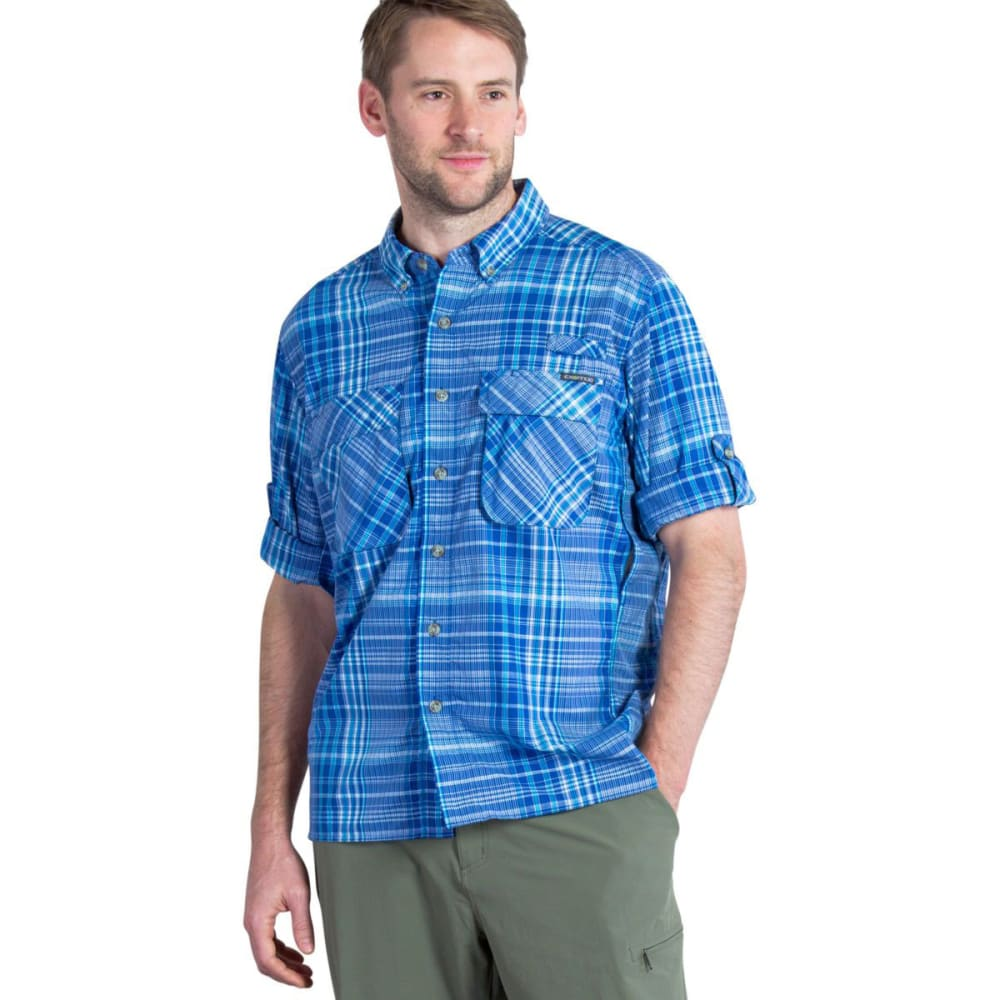 EXOFFICIO Men's Air Strip Macro Plaid Shirt, L/S   - PRUSSIAN BLUE