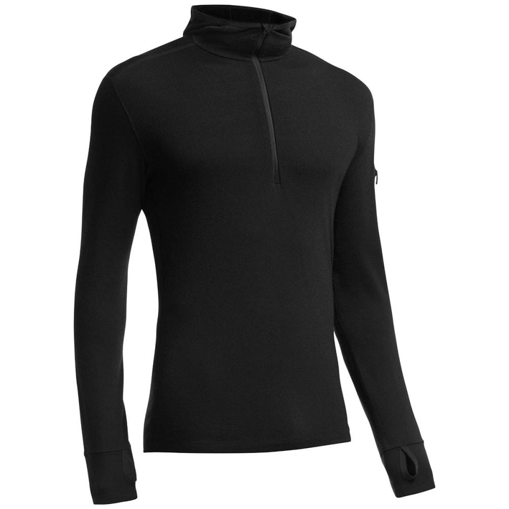 ICEBREAKER Men's Compass Long-Sleeve Half Zip Hood - BLACK/BLACK