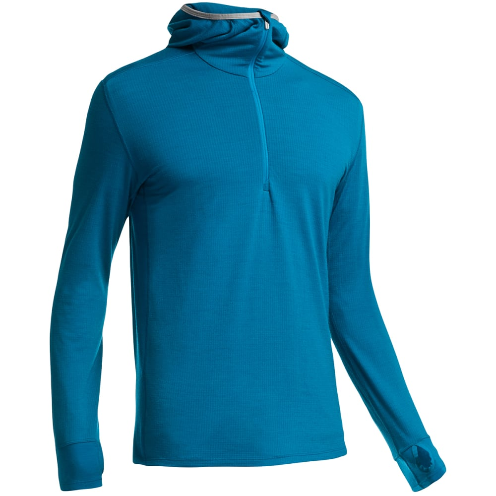 ICEBREAKER Men's Compass Long-Sleeve Half Zip Hood - PETROL/LUNAR