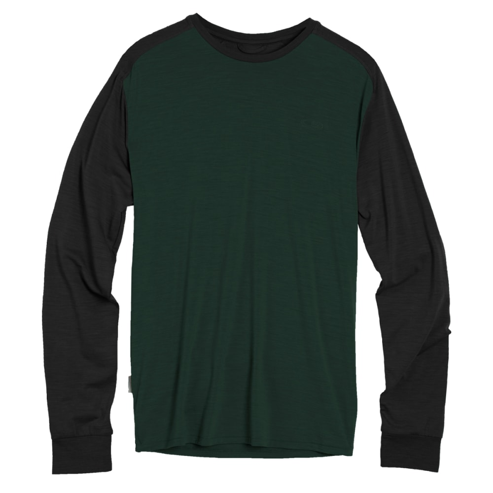 ICEBREAKER Men's Cool-Lite Sphere Long-Sleeve Crew - CONIFER HTH/BLK HTHR