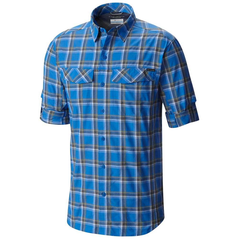 COLUMBIA Men's Silver Ridge   Plaid Long-Sleeve Shirt - 203-SUPER BLUE HTHR