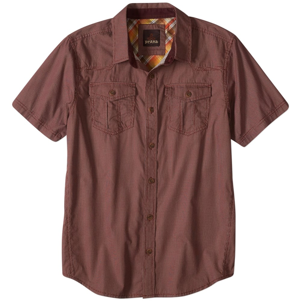 PRANA Men's Organic Cotton Borla S/S Shirt - RAISIN