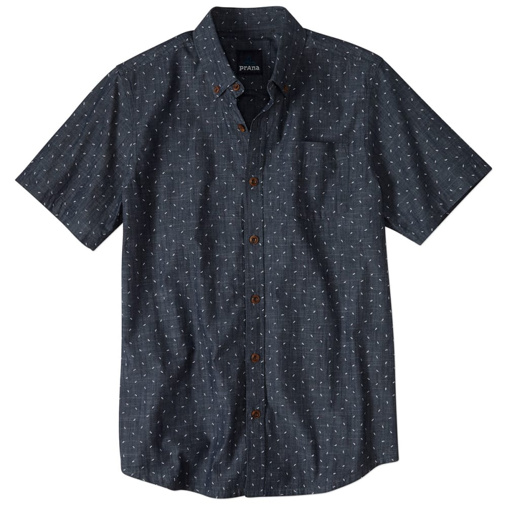 PRANA Men's Broderick Organic Cotton Slim Fit S/S Shirt - INDIGO