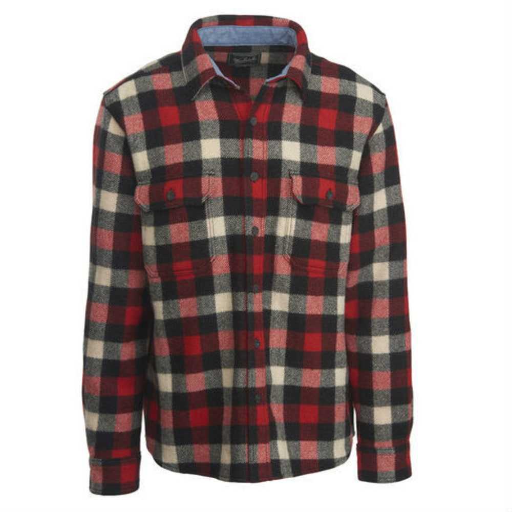 WOOLRICH Men's Buffalo Check Wool Shirt - RED/WHITE/BLK/PLAID