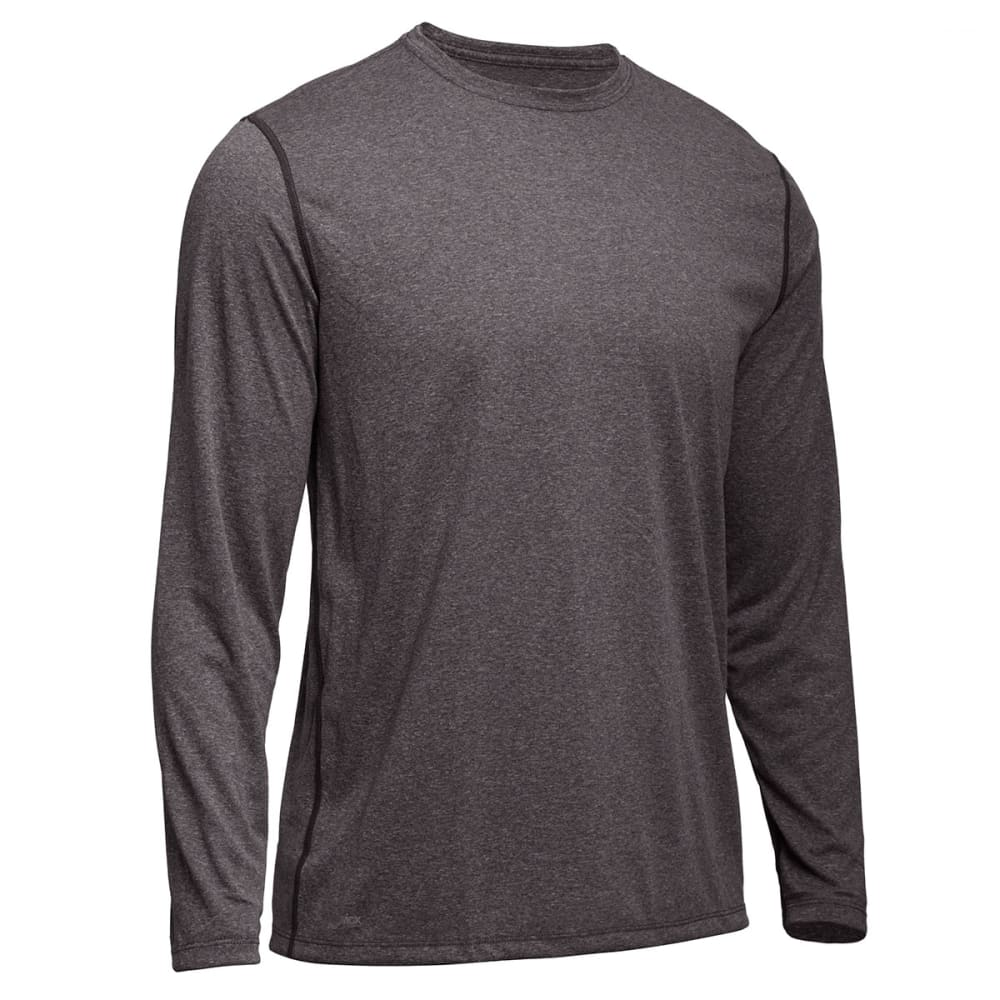 EMS Men's Techwick Essentials Long-Sleeve Crew - CHARCOAL HEATHER