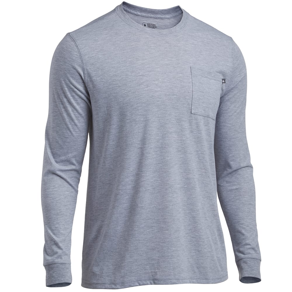 Carhartt's Men's Long-Sleeve Pocket Tee Shirt have a rib-knit collar.