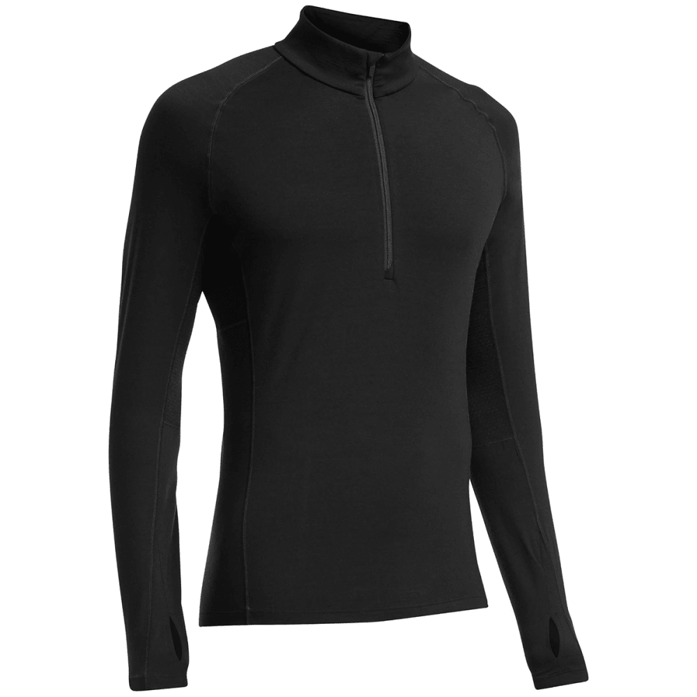ICEBREAKER Men's Zone LS Half Zip - BLACK/ MONSOON/ MONS