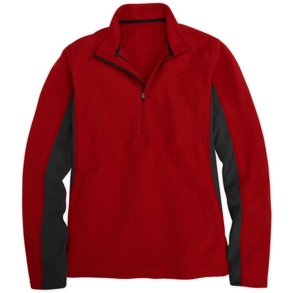 EMS® Men's Thermo ¼ Zip Blocked Pullover - MOLTEN LAVA/EBONY