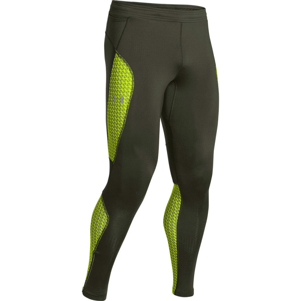 UNDER ARMOUR Men's ColdGear Infrared Run Tights - RIFLE GREEN