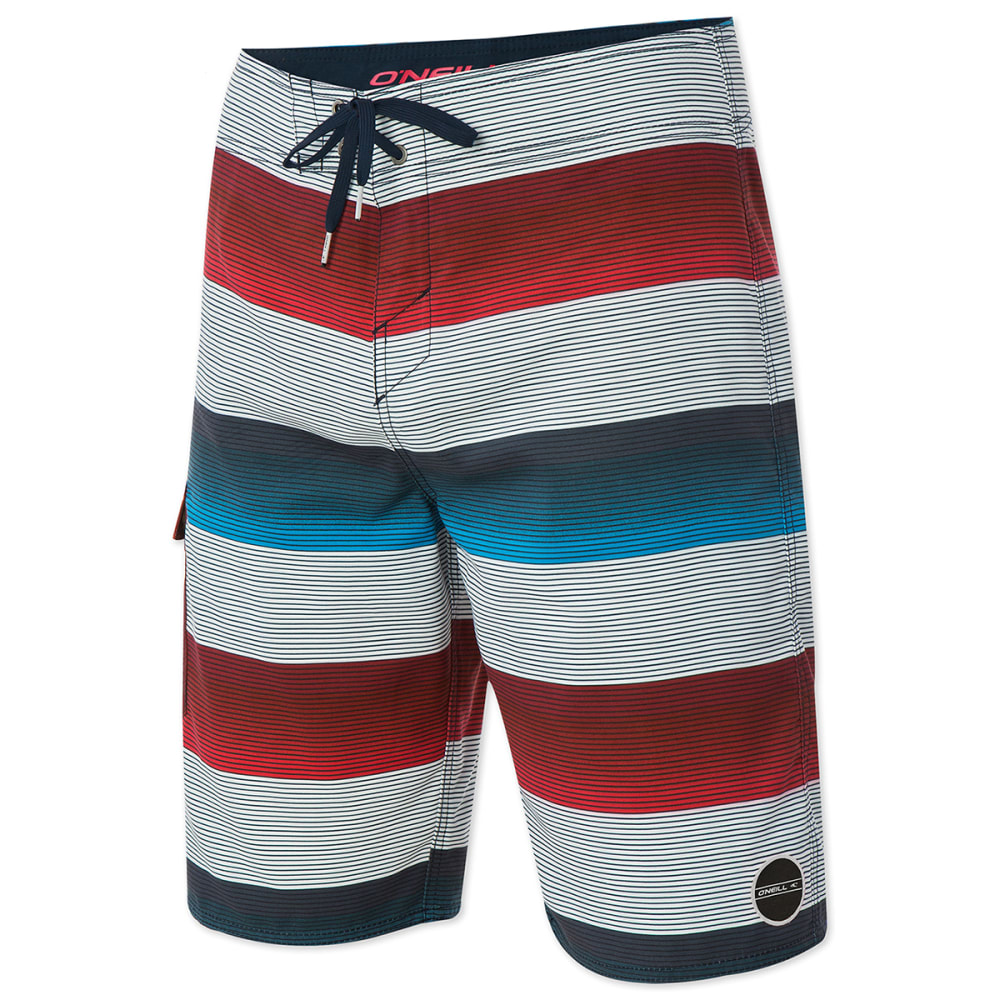 O'NEILL Men's Santa Cruz Stripe Boardshorts - WHITE