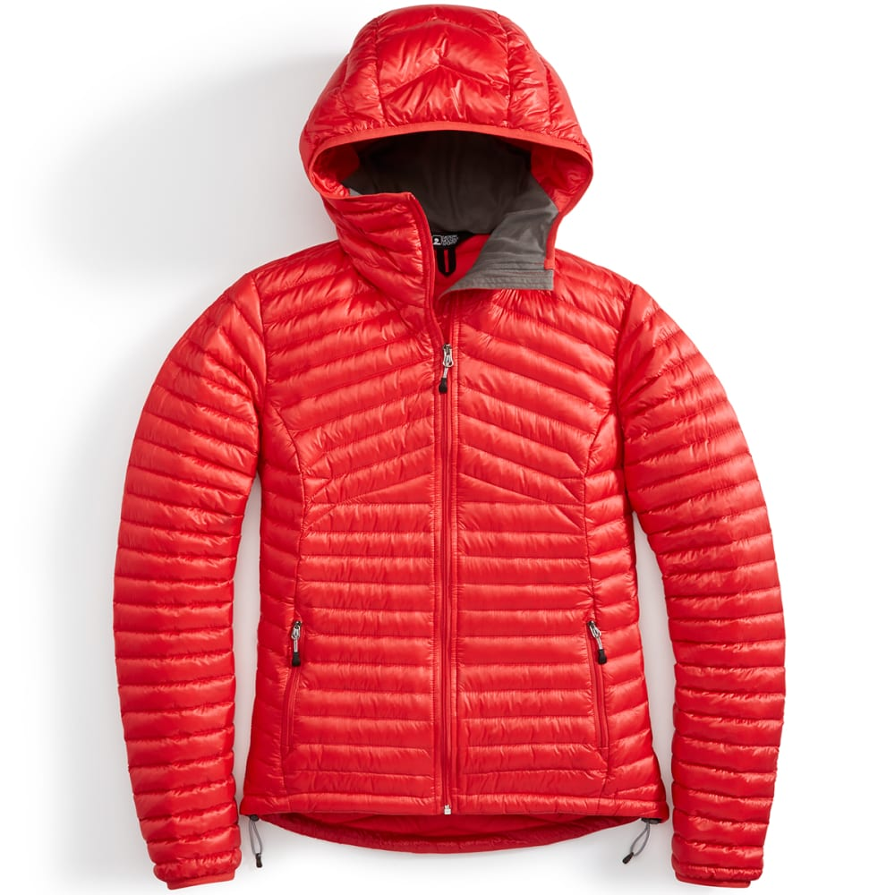 EMS® Women's Feather Pack 800 Downtek™ Hooded Jacket - POPPY RED