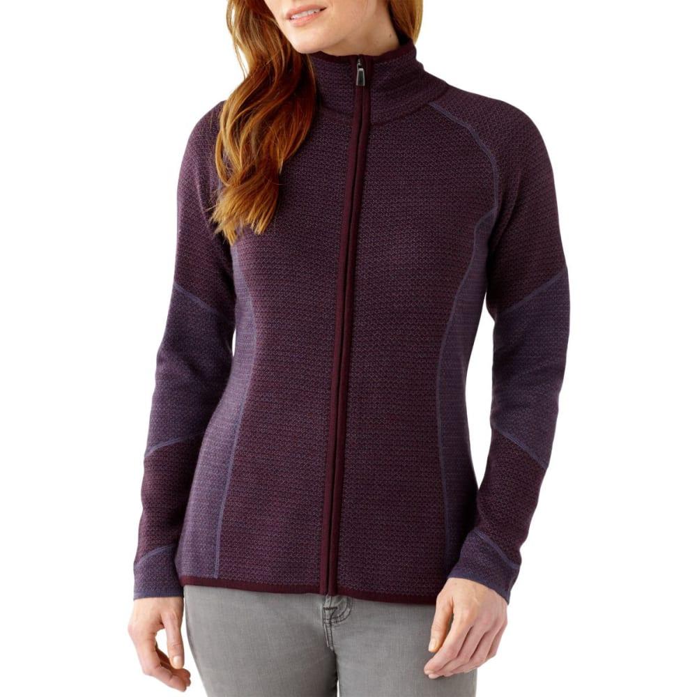 SMARTWOOL Women's Alamosa Double-Knit Full-Zip Sweater - AUBERGINE
