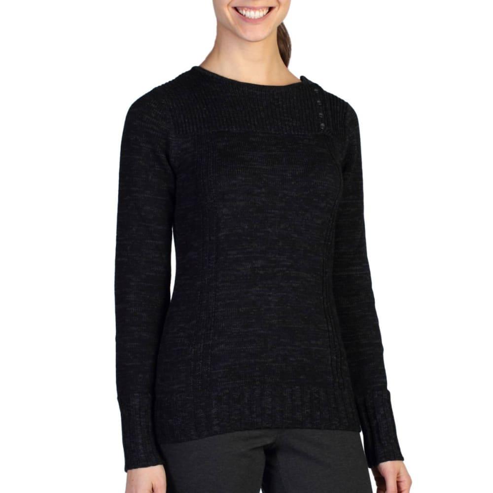 EXOFFICIO Women's Floriana Scoop Sweater - BLACK/CEMENT