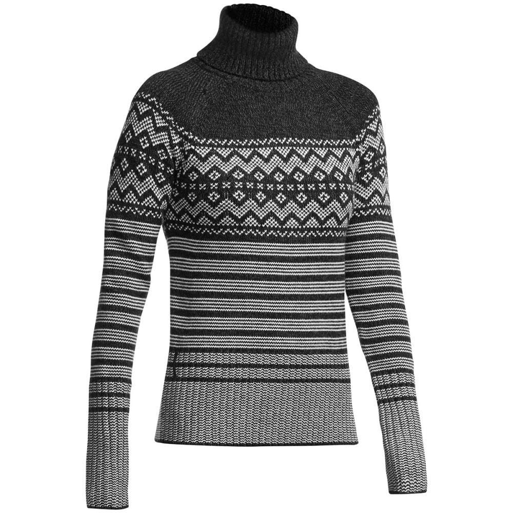 ICEBREAKER Women's Aura Long Sleeve Turtleneck Sweater - BLACK/ JET HTHR/ BON