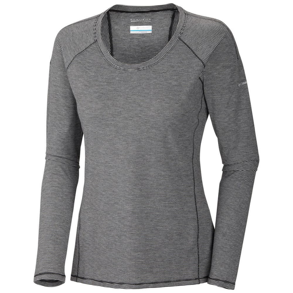 COLUMBIA Women's Layer First Stripe Long Sleeve - BLACK HEATHER