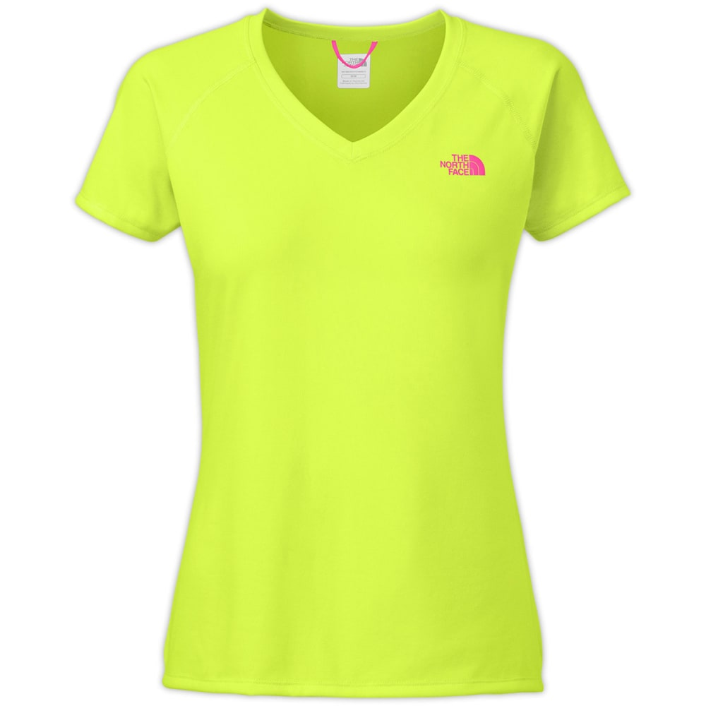 THE NORTH FACE W's Reaxion Amp V-Neck T-Shirt, S/S - DAYGLO YELLOW