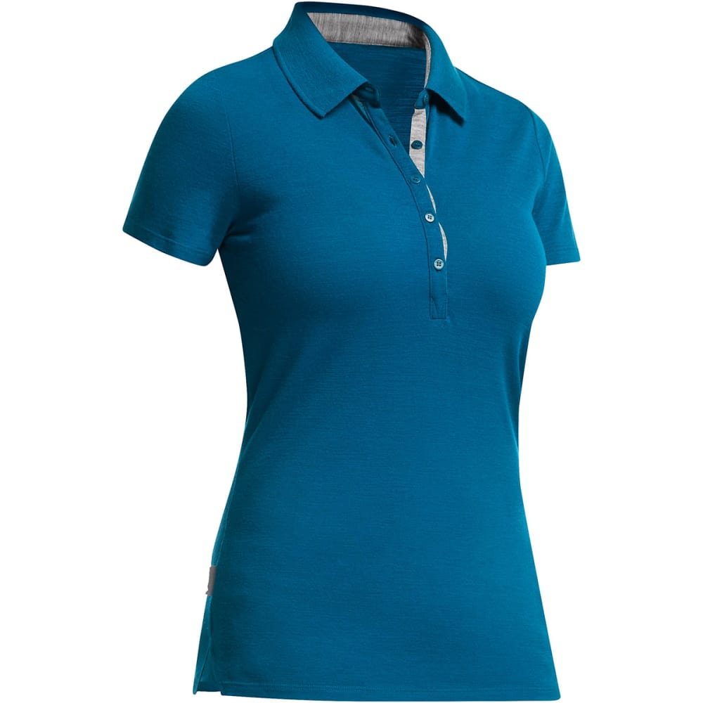 ICEBREAKER Women's Tech Lite Short-Sleeve Polo - ISLE/METRO HEATHER