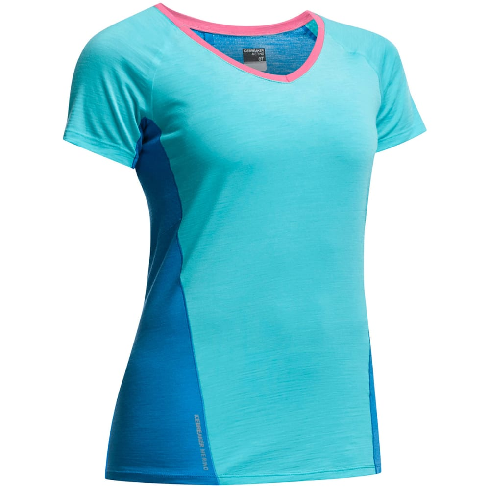 ICEBREAKER Women's Cool-Lite Spark Short-Sleeve  Shirt - AQUAMARINE/FORCE/SHO