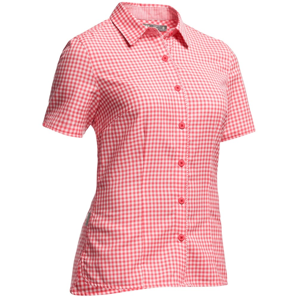 ICEBREAKER Women's Destiny Short-Sleeve  Shirt - GRAPEFRUIT/SNOW
