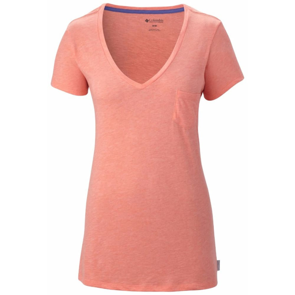 COLUMBIA Women's Everyday Kenzie V-Neck Tee - CORAL FLAME HEATHER