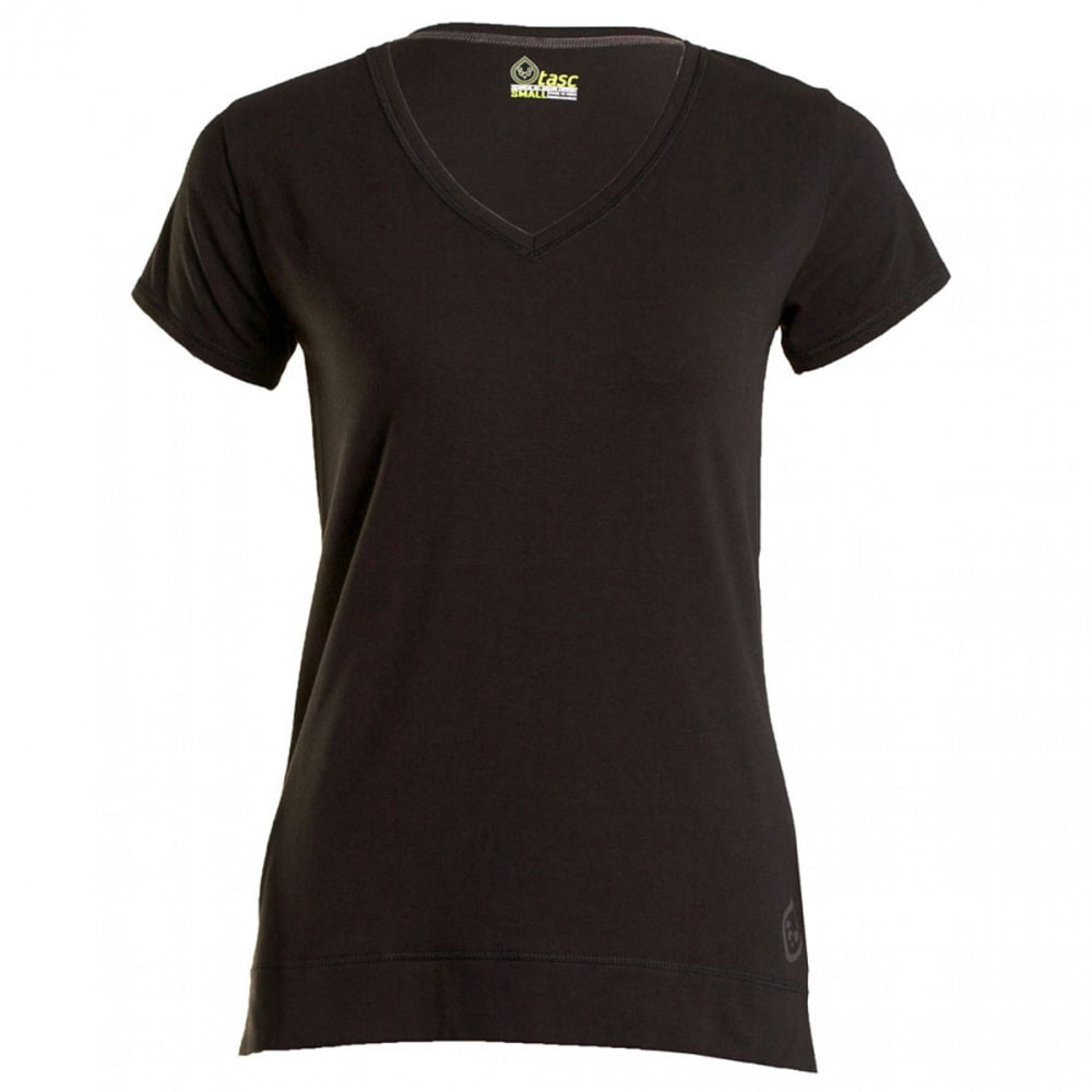 TASC Women's Streets Short-Sleeve V-Neck - BLACK