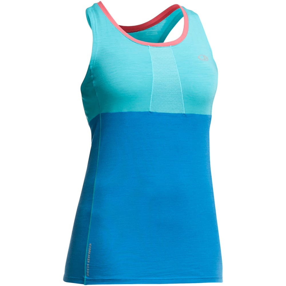 ICEBREAKER Women's Cool-Lite Spark Tank - AQUAMARINE/FORCE/SHO
