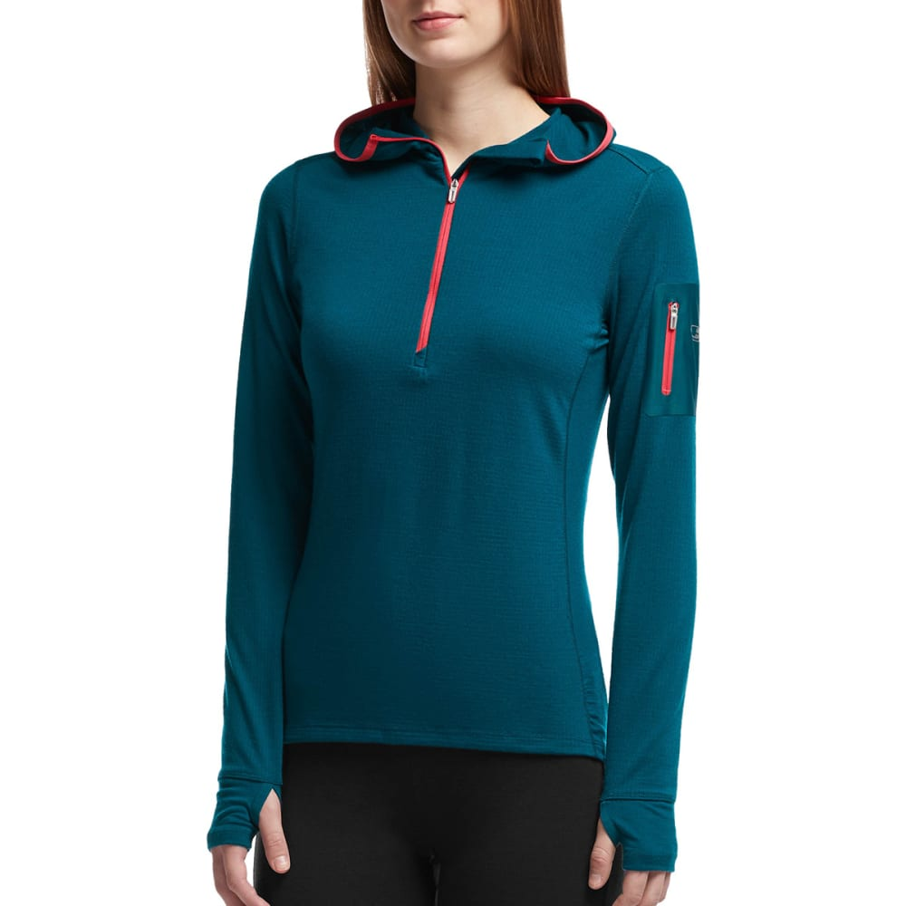 ICEBREAKER Women's Terra Half Zip Long Sleeve Hoodie - NIGHT/ GRAPEFRUIT