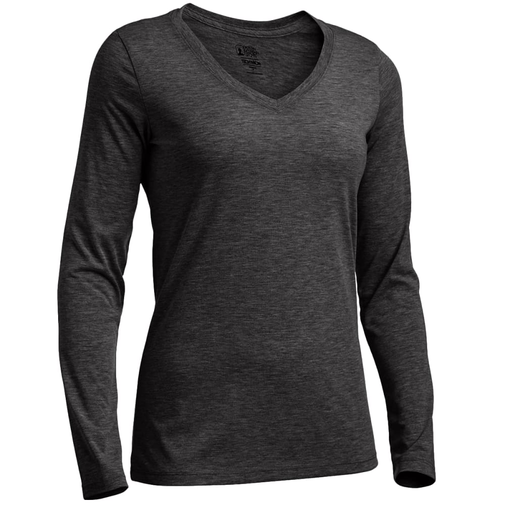 EMS Women's Techwick Vital Long-Sleeve V-Neck Tee - JET BLACK HTR