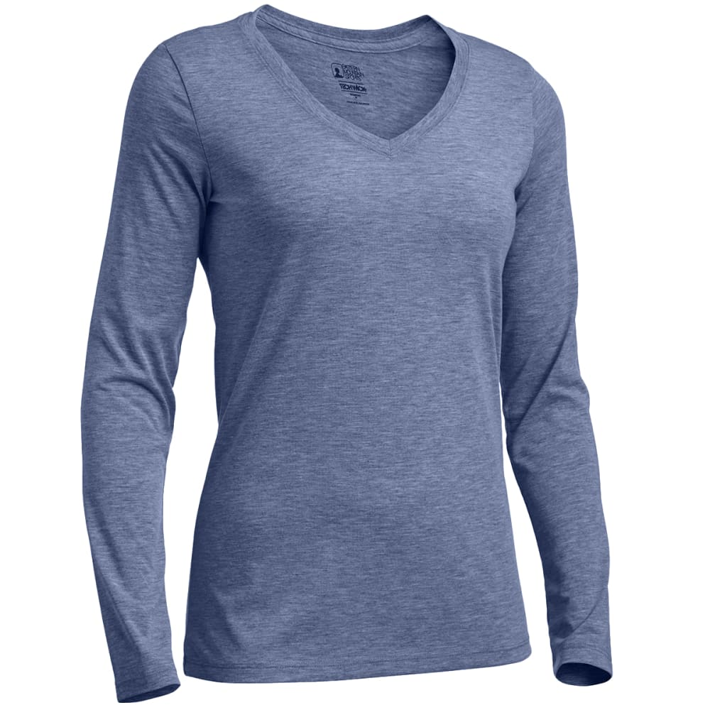 EMS Women's Techwick Vital Long-Sleeve V-Neck Tee - ENSIGN BLUE HTR