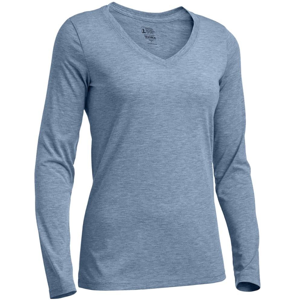 EMS® Women's Techwick® Vital Long-Sleeve V-Neck Tee - FADED DENIM HEATHER