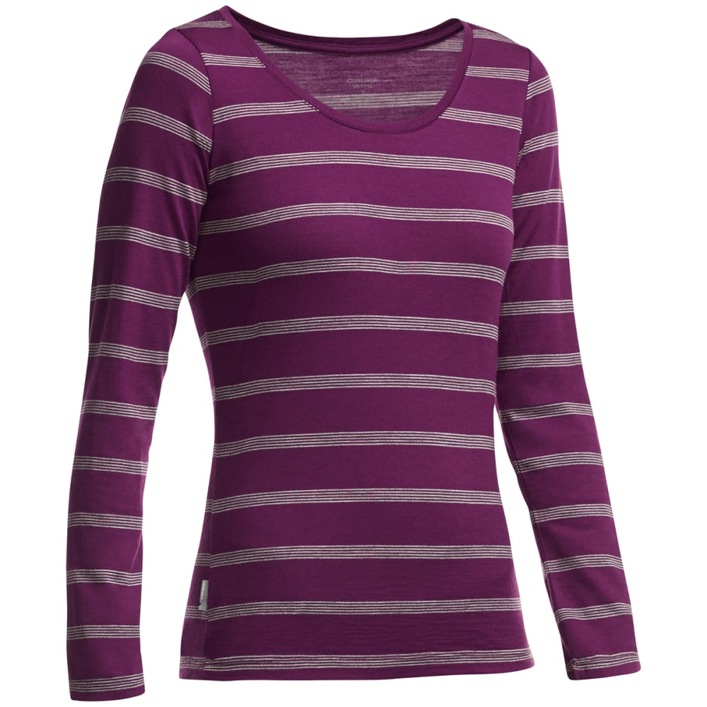 Icebreaker Womens Crush Long Sleeve Scoop Neck Striped Shirt - Red - Size S 102906