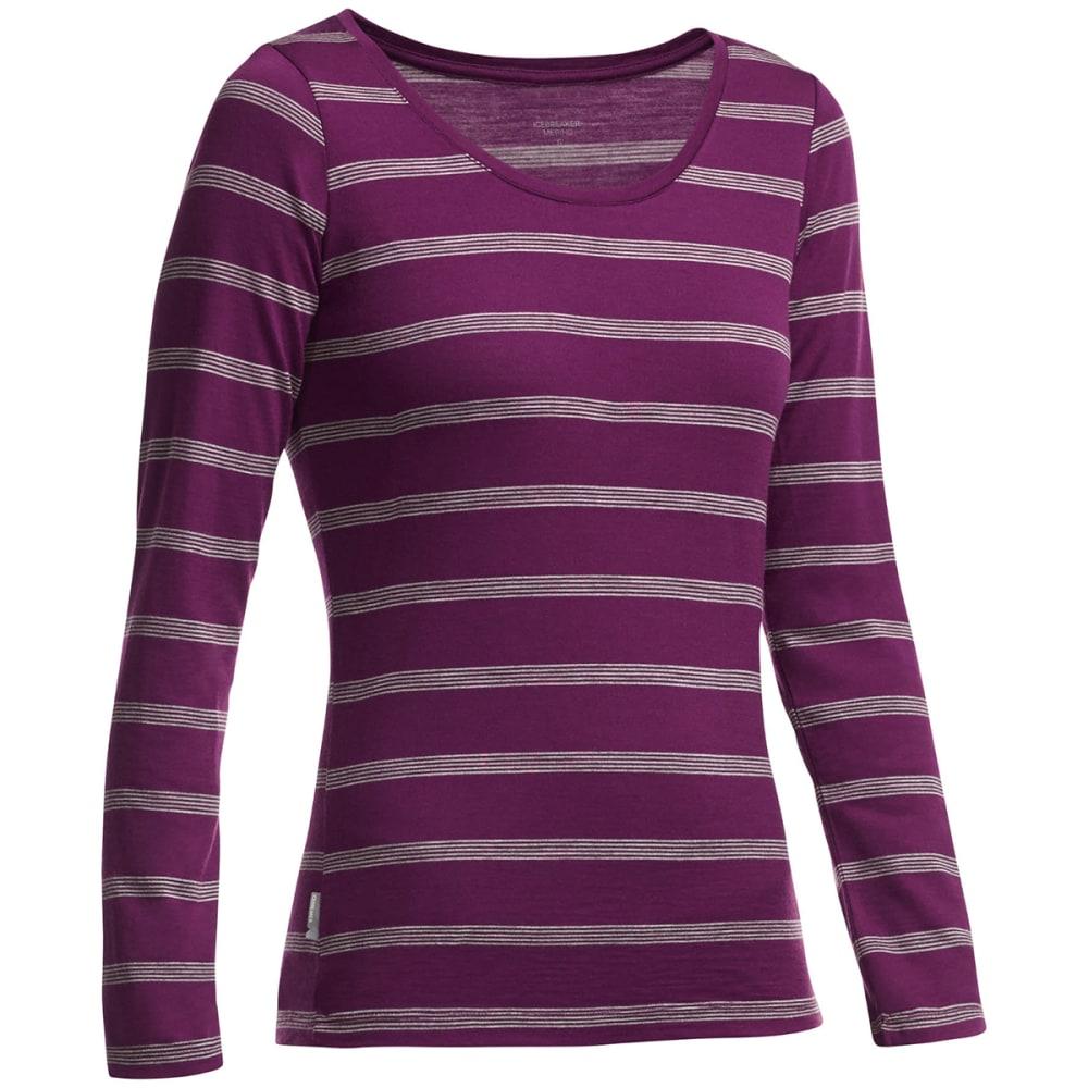 ICEBREAKER Women's Crush Long Sleeve Scoop Neck Striped Shirt - MAROON/ METRO HTHR