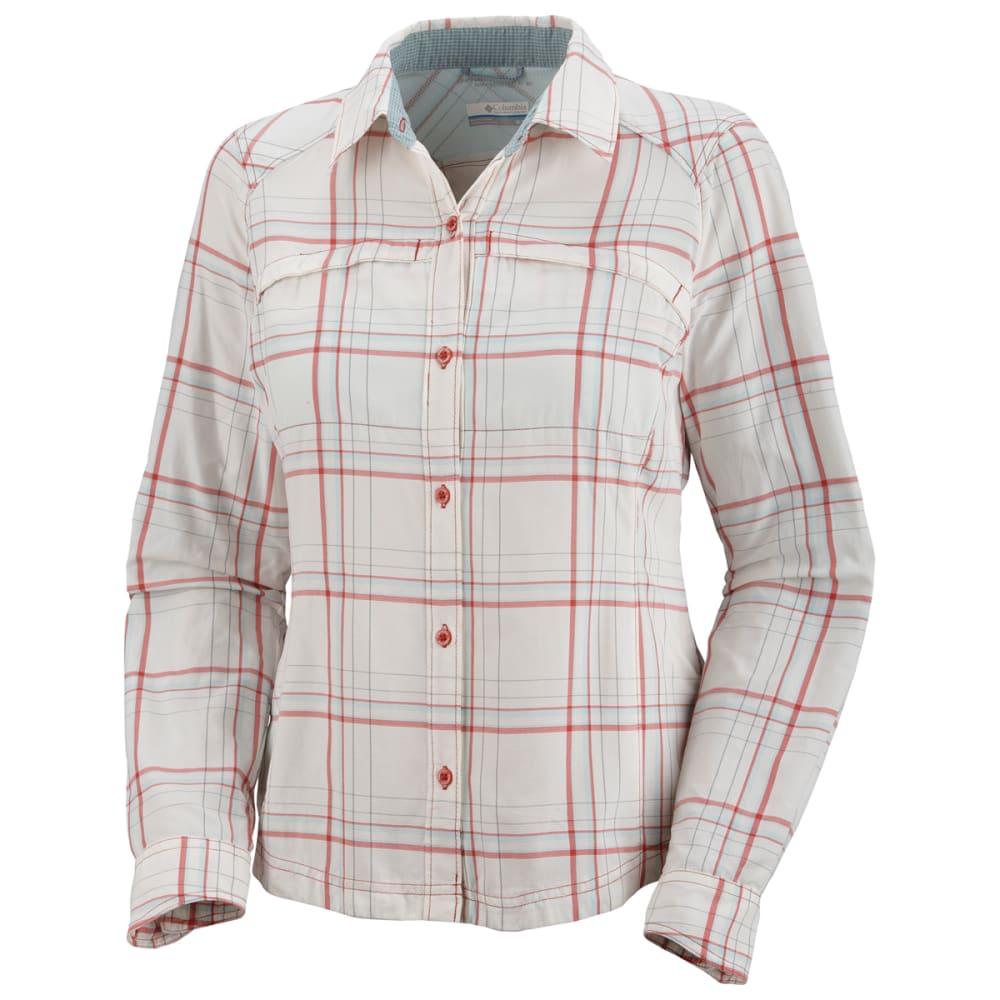 COLUMBIA Women's Silver Ridge Plaid Long-Sleeve Shirt - WHITE PTRND
