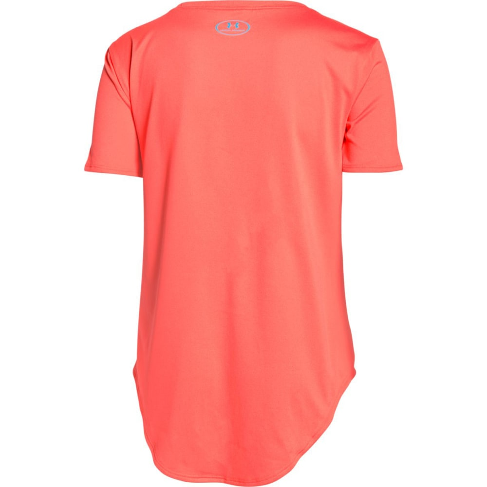 UNDER ARMOUR Girls' Your Favorite Tech   Short-Sleeve Tee - AFTER BURN